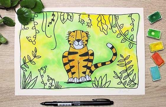 """Kostenloser Online Malkurs für Kinder """"Tiger"""""""